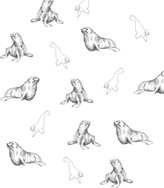A repeat pattern of seals in a sketchy drawing style.