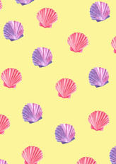 Bright and playful shell repeat pattern on orange background.