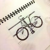 biro pen drawing of a bike in Amsterdam.