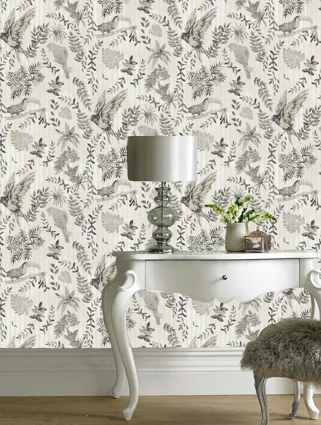 BIRDS wallpaper in the colourway Natural.