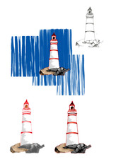 Lighthouse development from pen drawing to digital drawing.