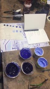 Mixing pigment dye.