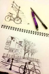 Biro pen drawings of Amsterdam.