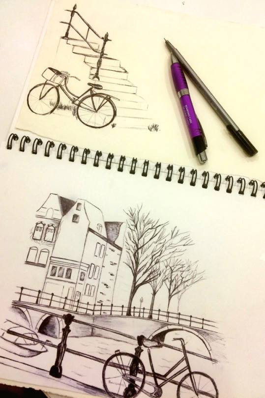 Biro pen drawings of Amsterdam.