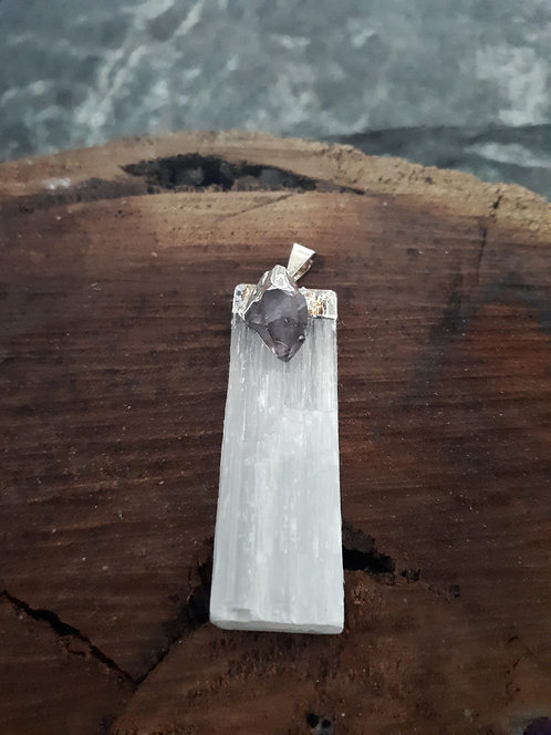 SELENITE with AMETHYST Pendant OBC000106