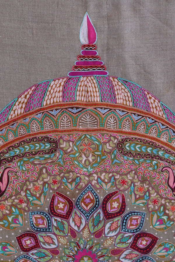 Kalamkari Hand Embroidery Pashmina Shawl