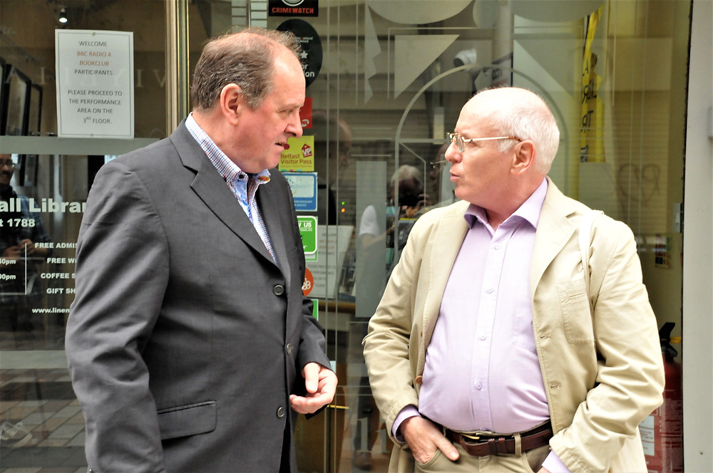 Discussing the finer points of crime writing with the host of Radio 4's Bookclub, James Naughtie, at the Linen Hall Library Belfast.