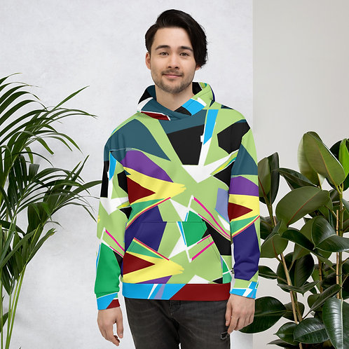 Sharp Angles Abstract Colorful Green Unisex Hoodie