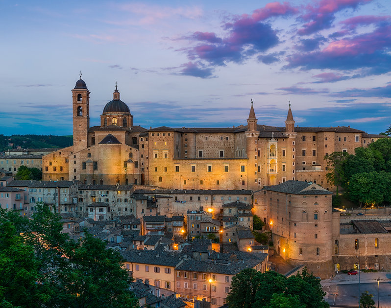 Panorama in Urbino at sunset, city and W