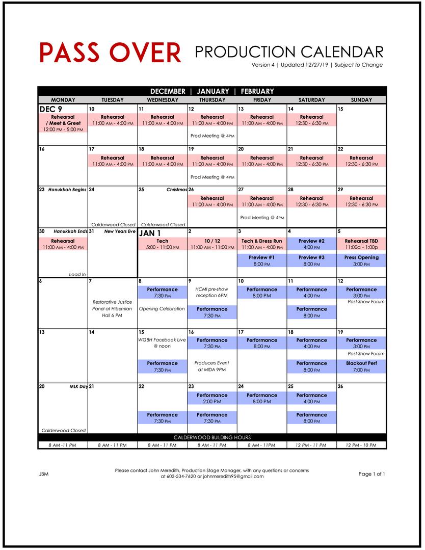 Pass Over Calendar