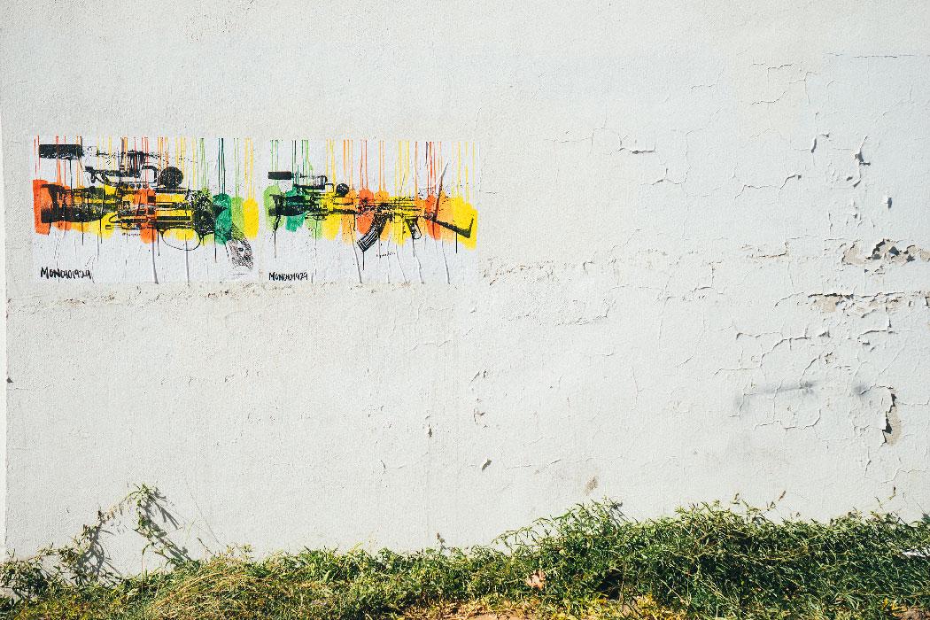 White Wall with Graffiti