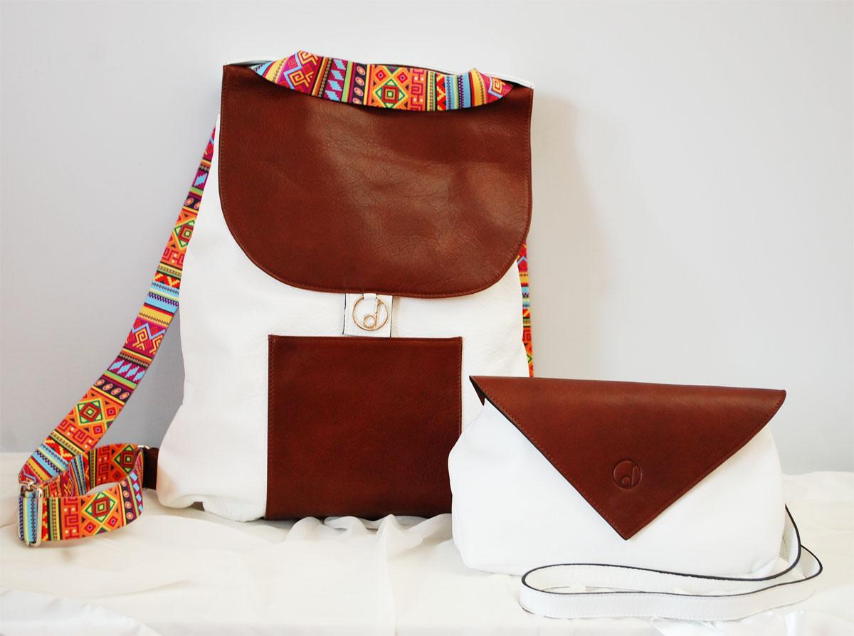 zaino-Nicole-pochette-Nina-summer16-bicolor-bianco-brown