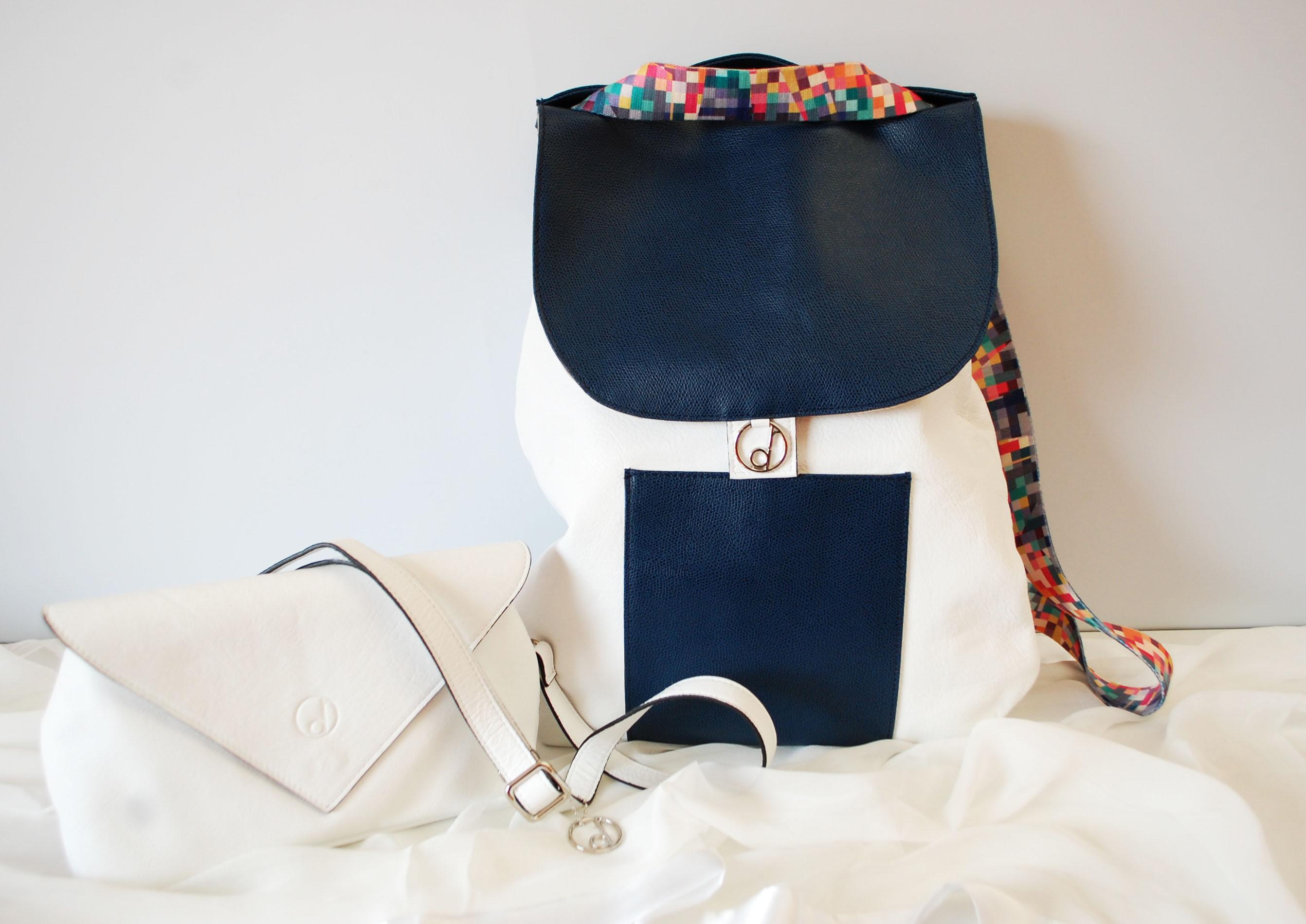 zaino-Nicole-pochette-Nina-summer16-bicolor-bianco-blu