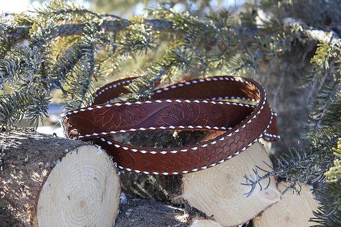 Sunflower buck stitched belt