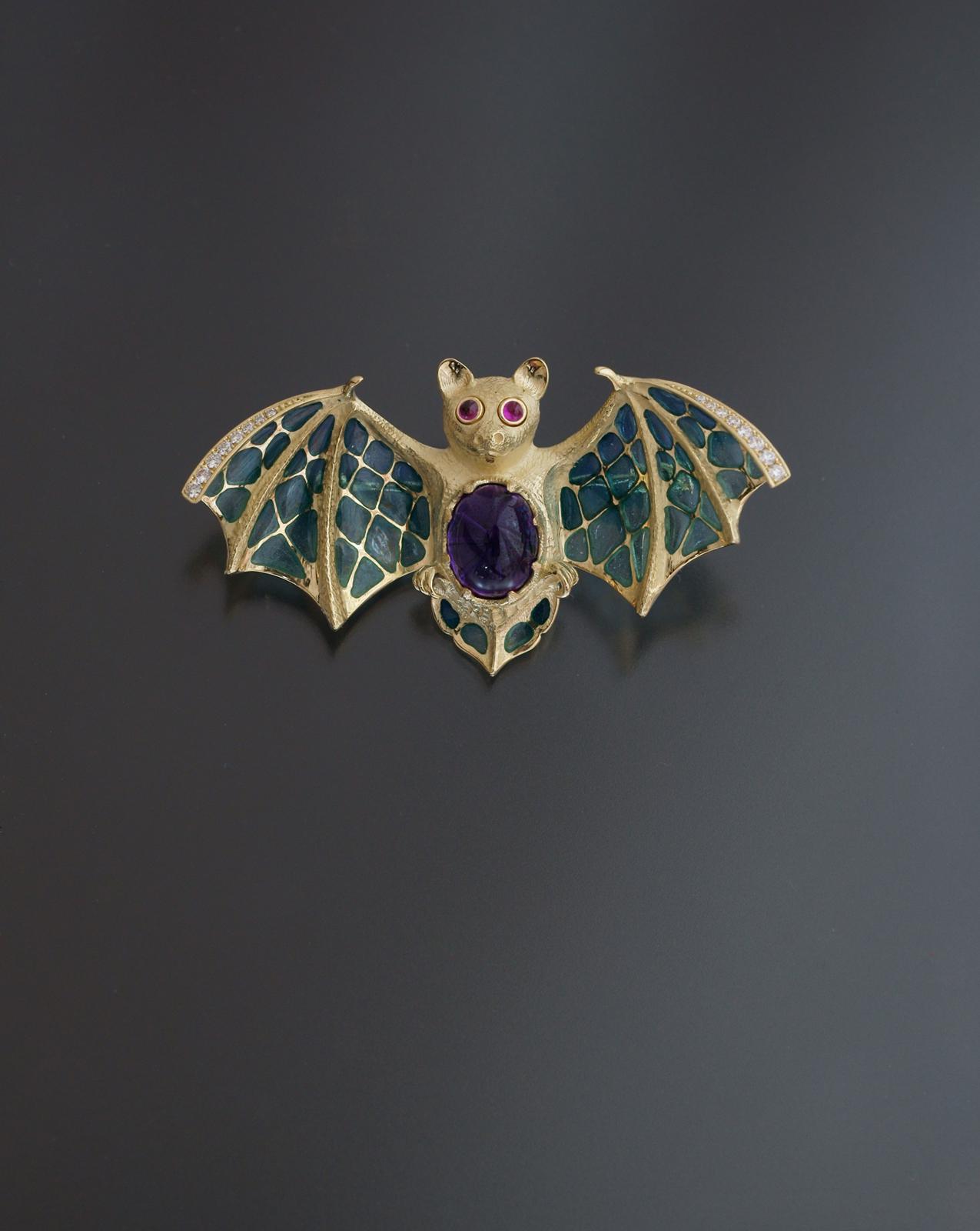 コウモリ plique-à-jour enamel