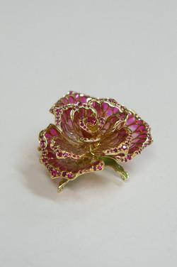 赤いバラ plique-à-jour enamel