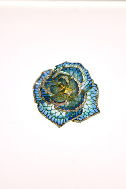薔薇 plique-à-jour enamel