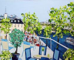 Terrasse devant le Vert Galant