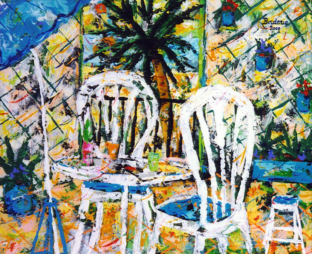 Chaises sur la terrasse. 65X54 (2000