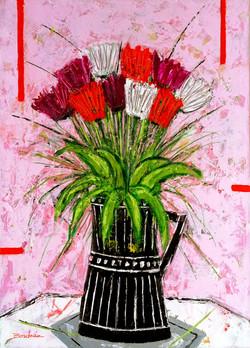 Bouquet fond rose