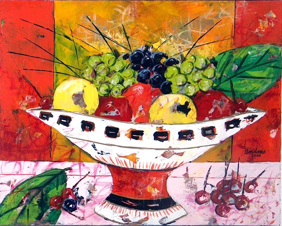 Coupe de fruits aux deux feuilles.