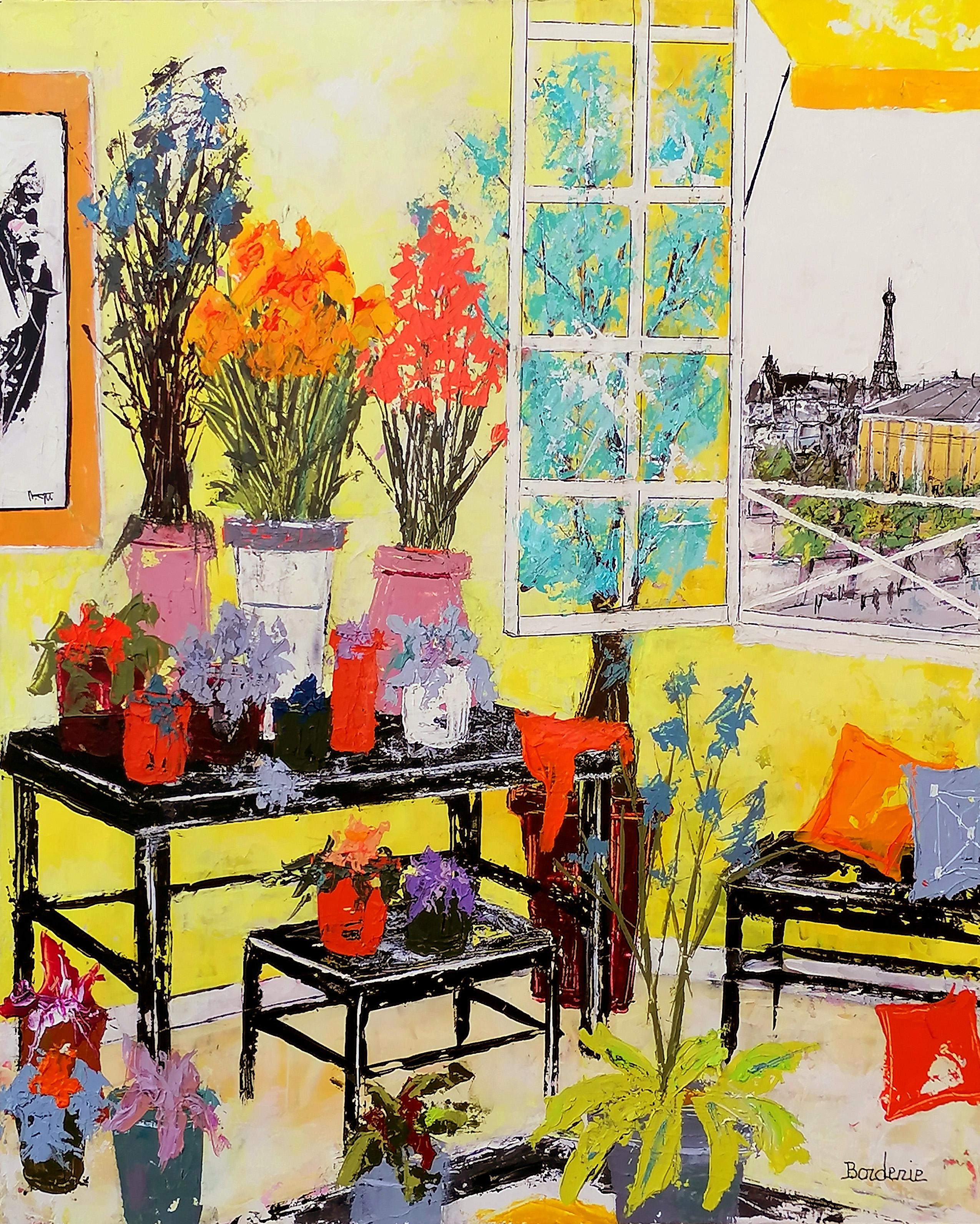 Bouquets fond jaune 10F