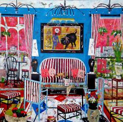 Paris le salon bleu et rouge.