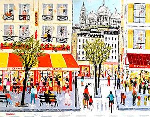 Scène de vie dans une rue de Paris à Montmartre