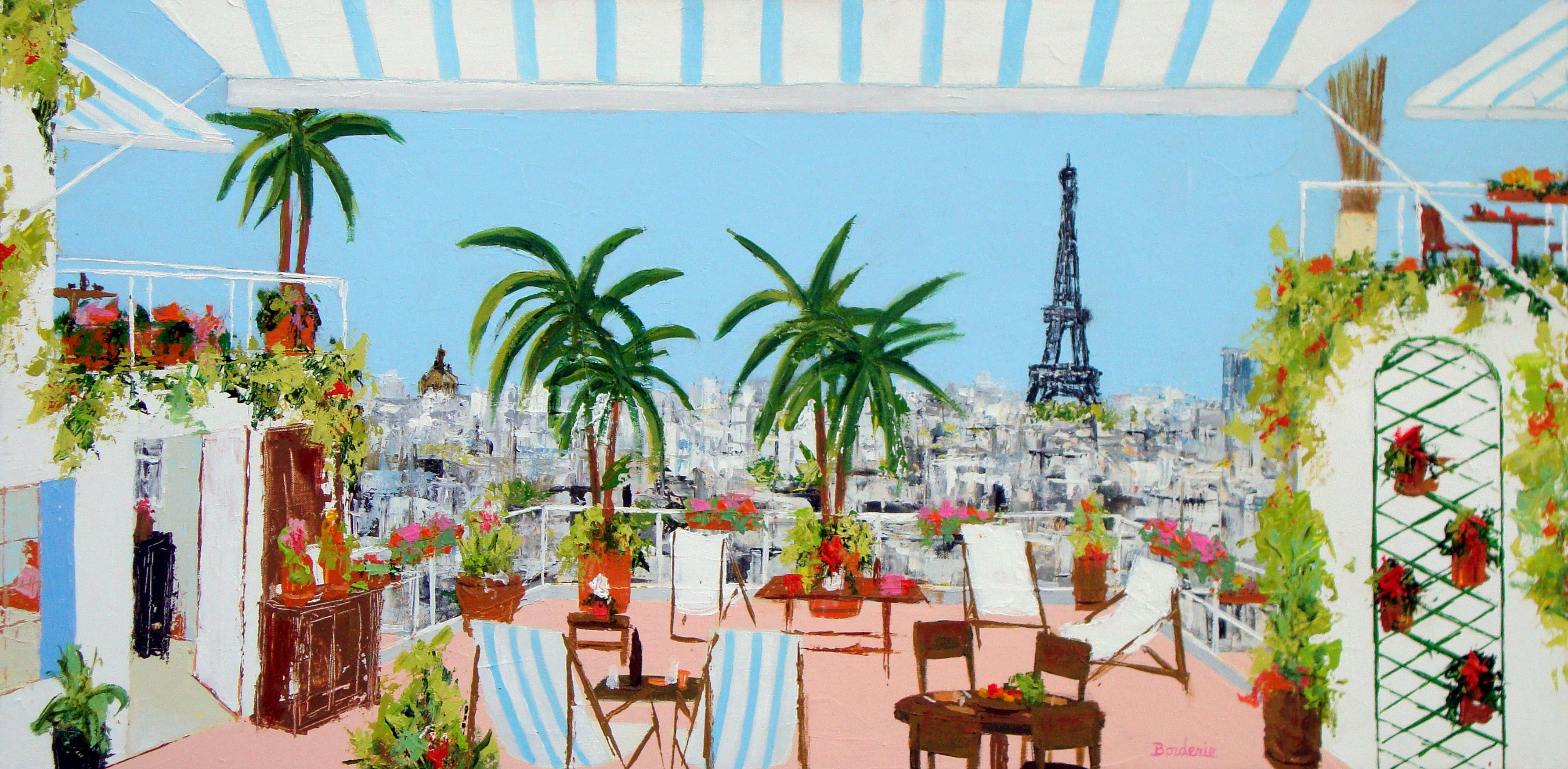 Les palmiers sur une terrasse devant la Tour Eiffel