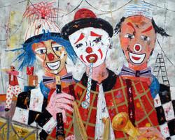 Les trois clowns musiciens.
