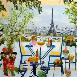 2 Terrasse fleurie sur la Seine 100X100.