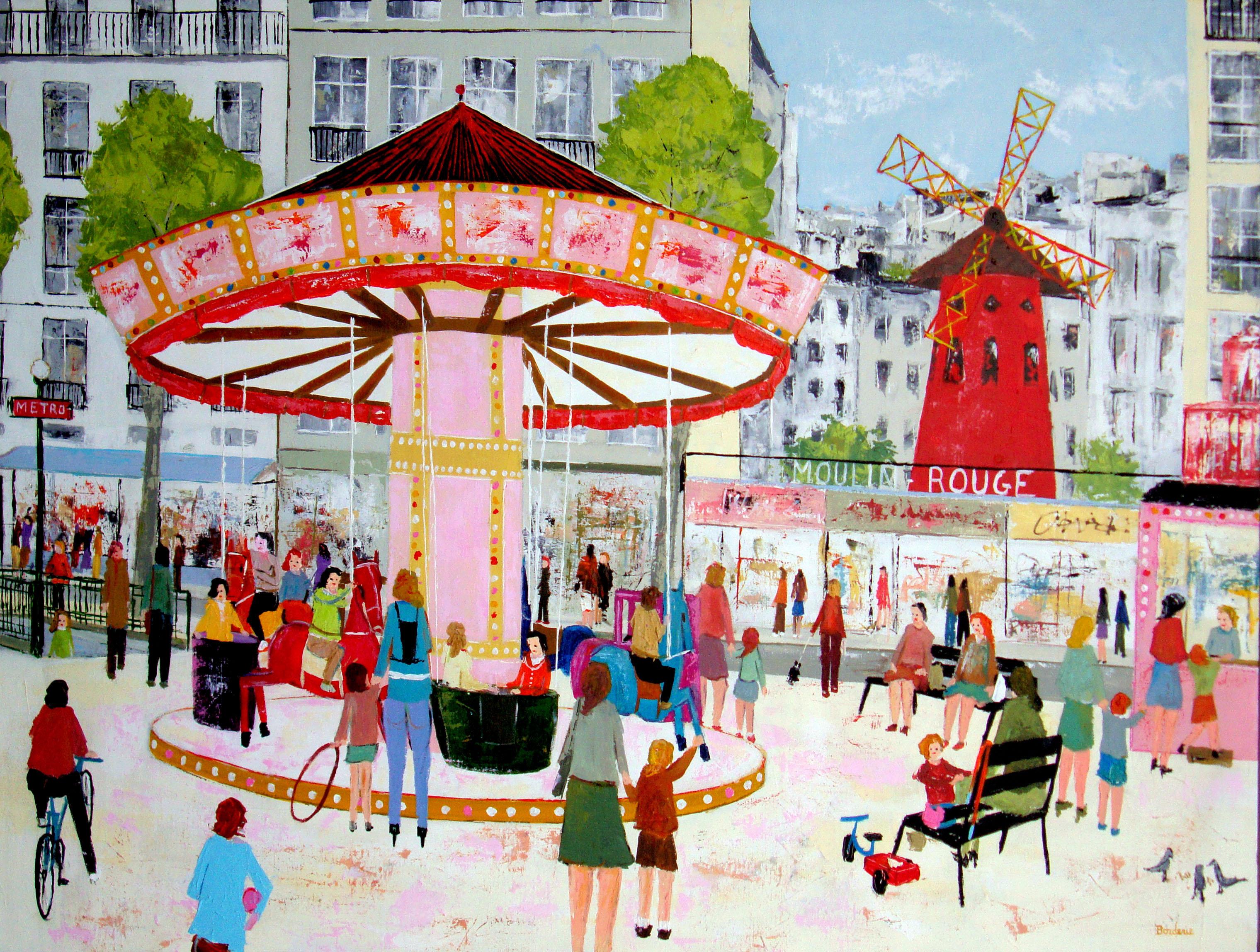 Le manege devant le Moulin rouge 60F