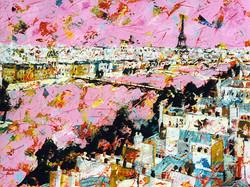 Le Pont des Arts au ciel rose