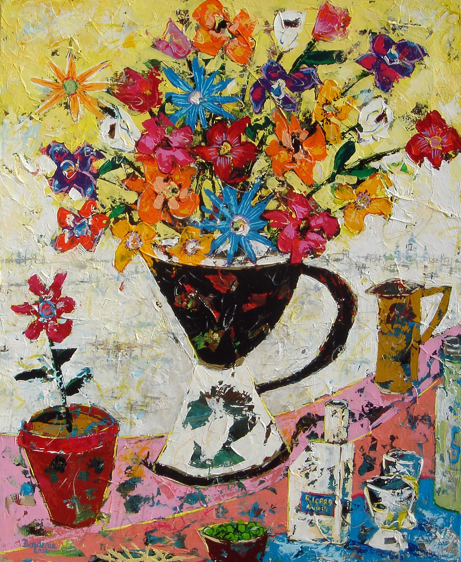 Le vase de fleurs noir et blanc