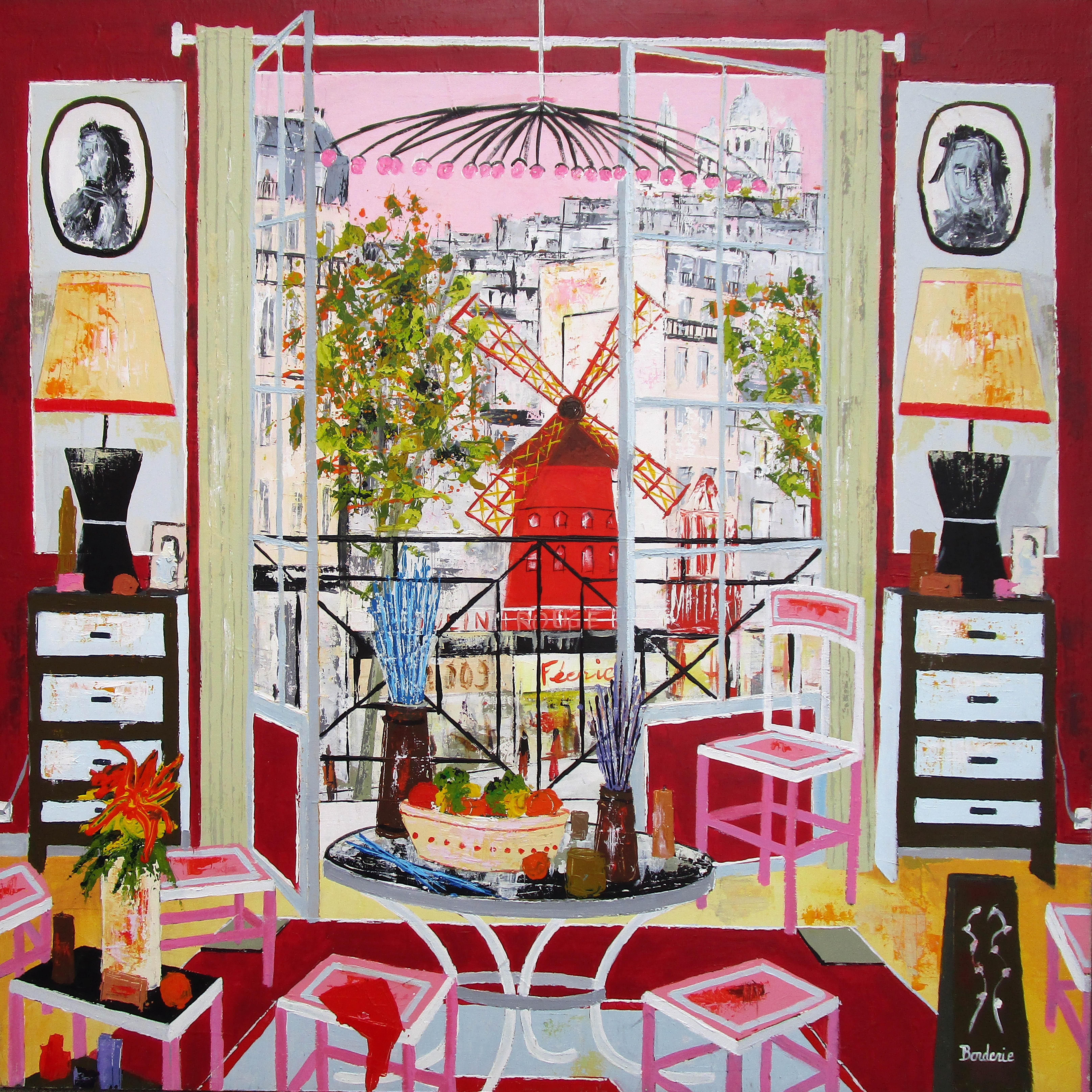 Le salon rose devant le moulin rouge 120