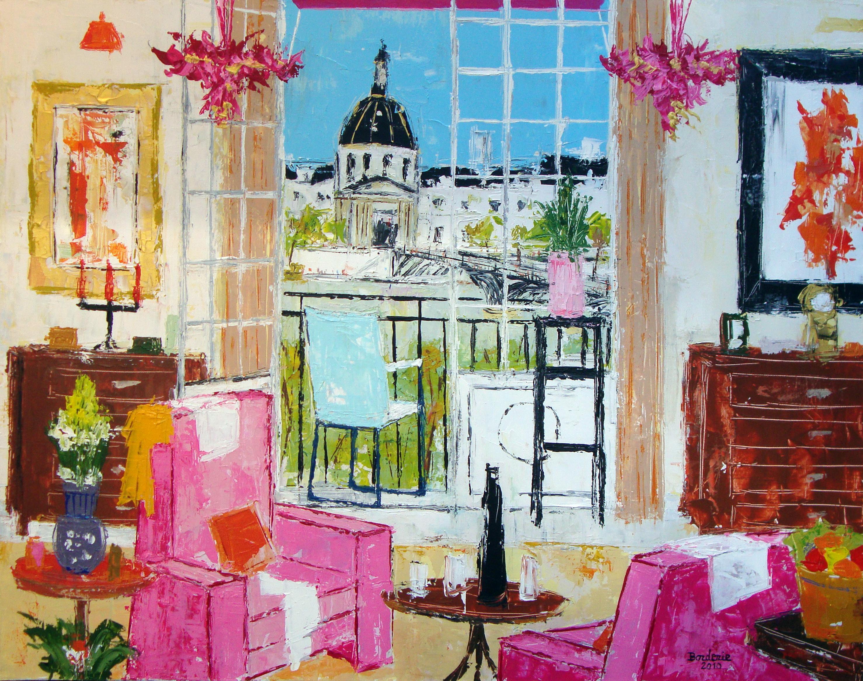 Interieur rose sur fond de l Institut de Franc