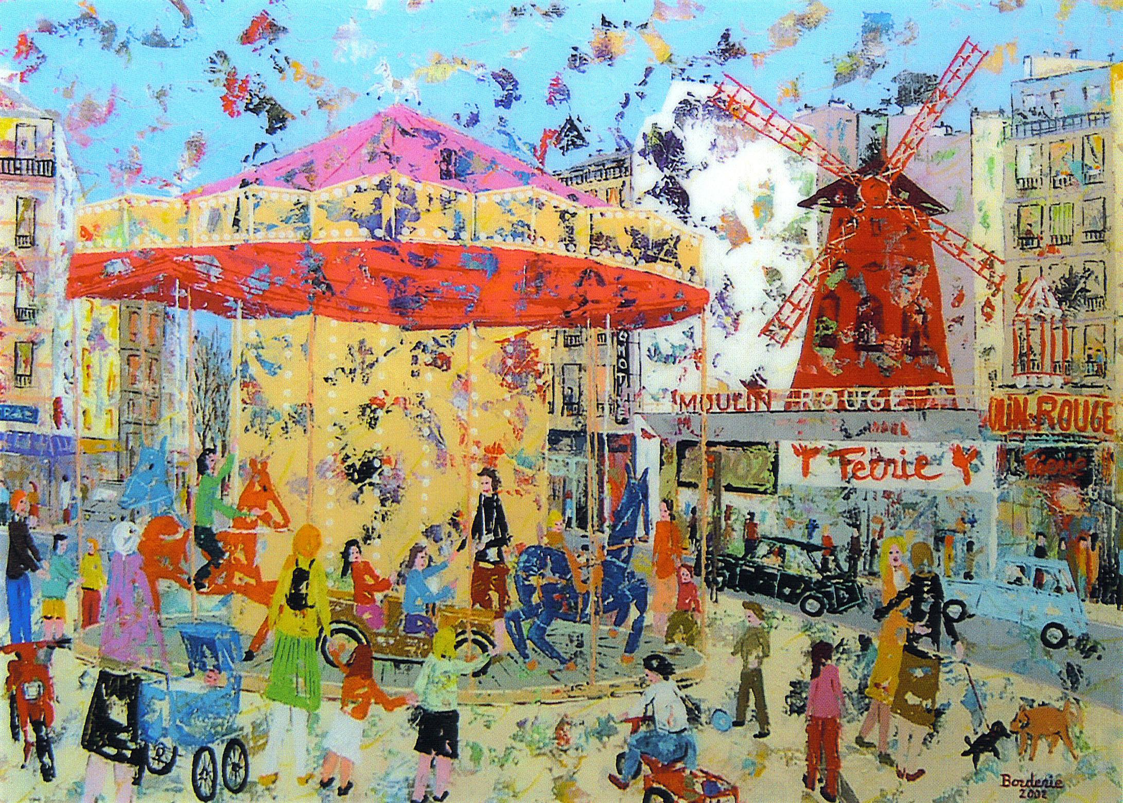 Manège devant le Moulin-Rouge.