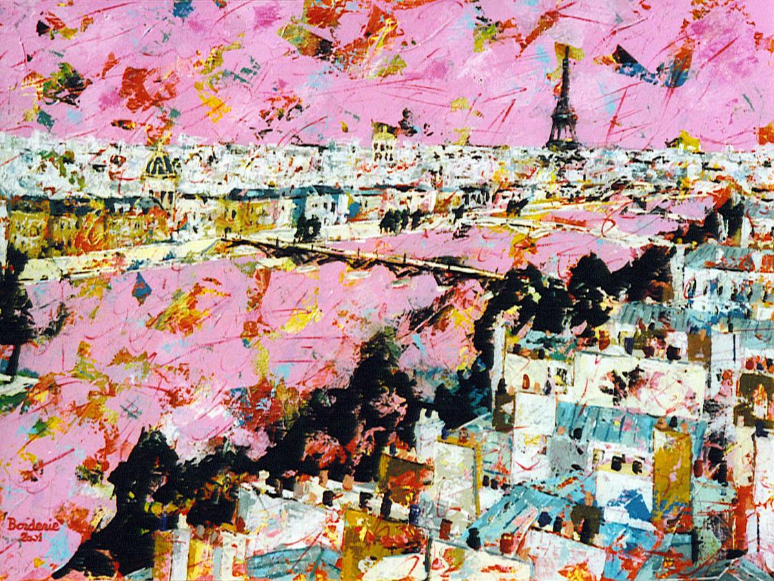 Le pont des arts au ciel rose.