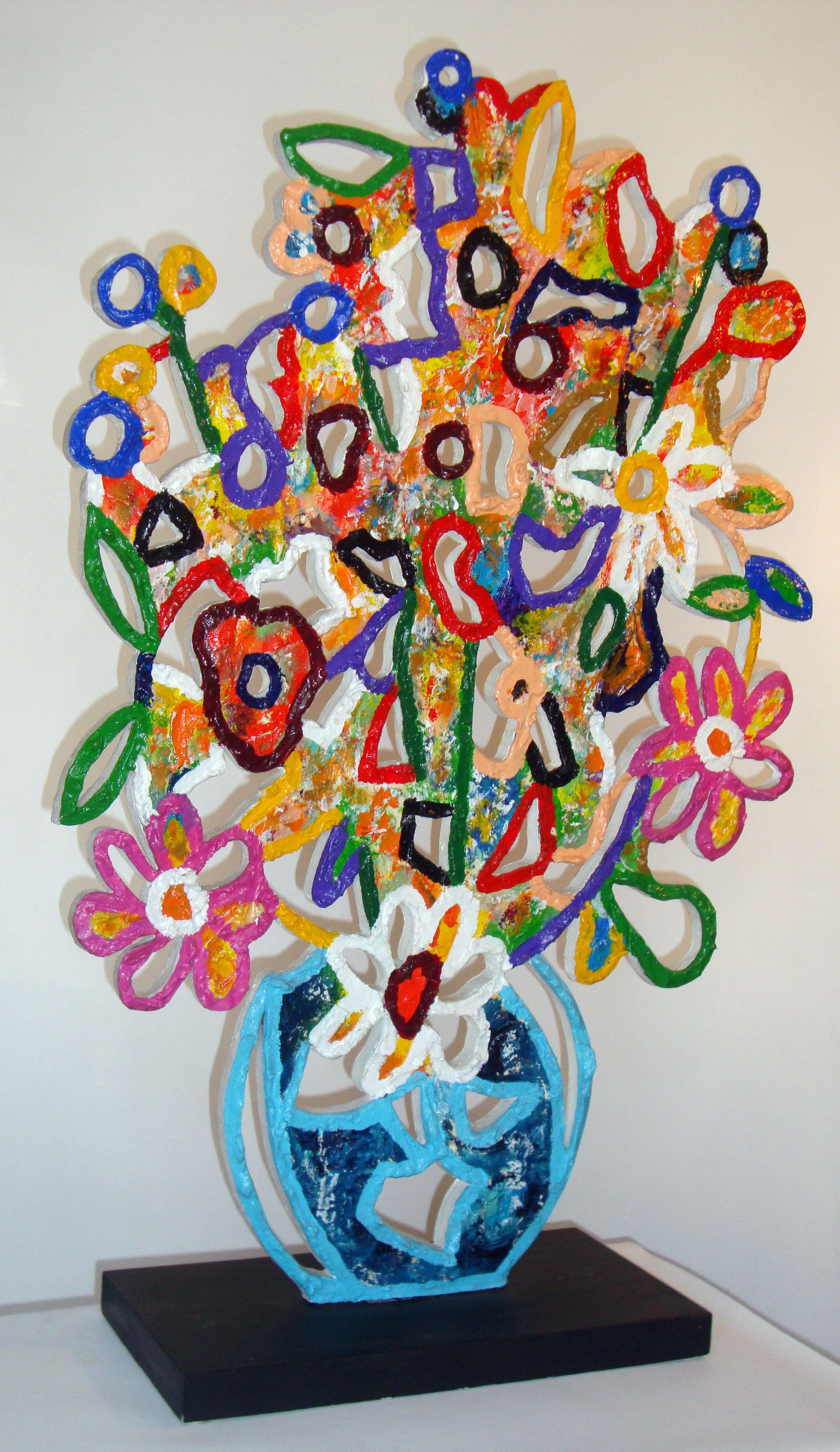 Bouquet de fleurs (face) bois