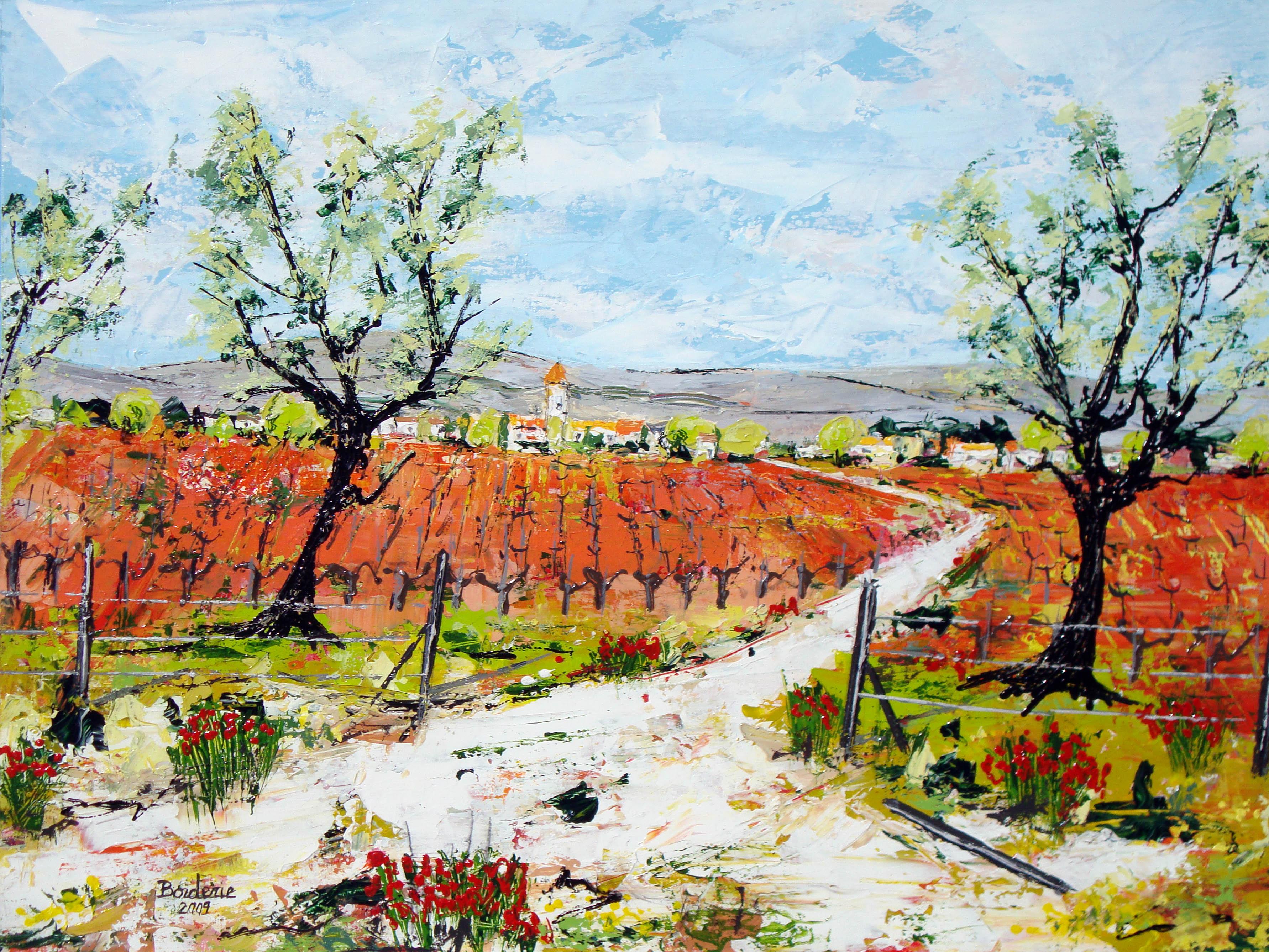 Chemin à travers les vignes.