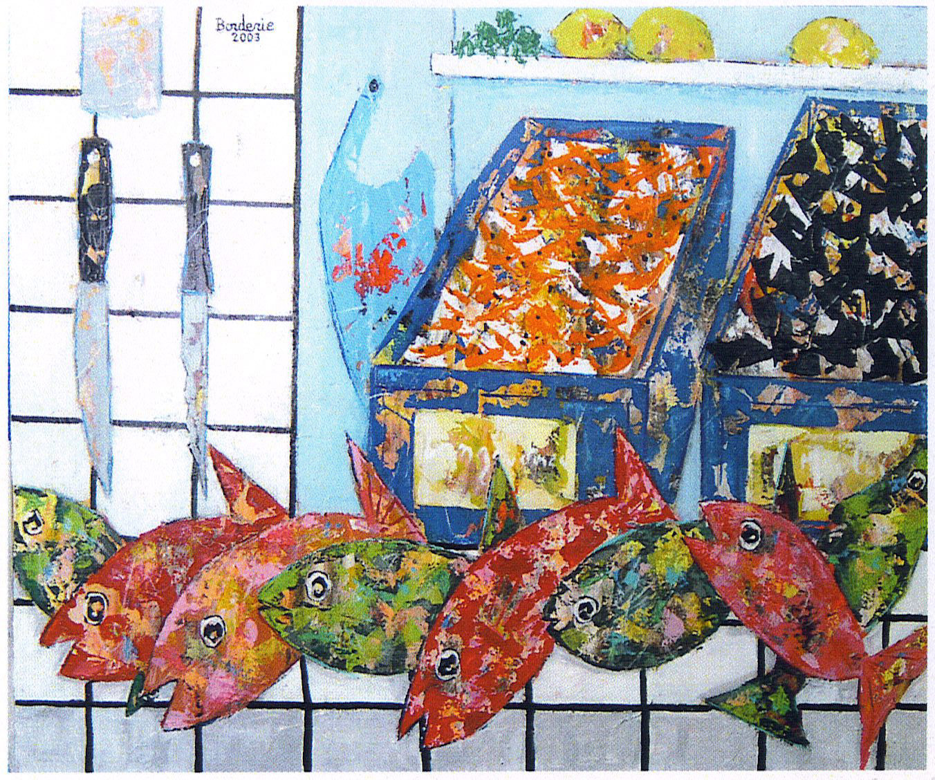 langoustines, moules, et poissons.