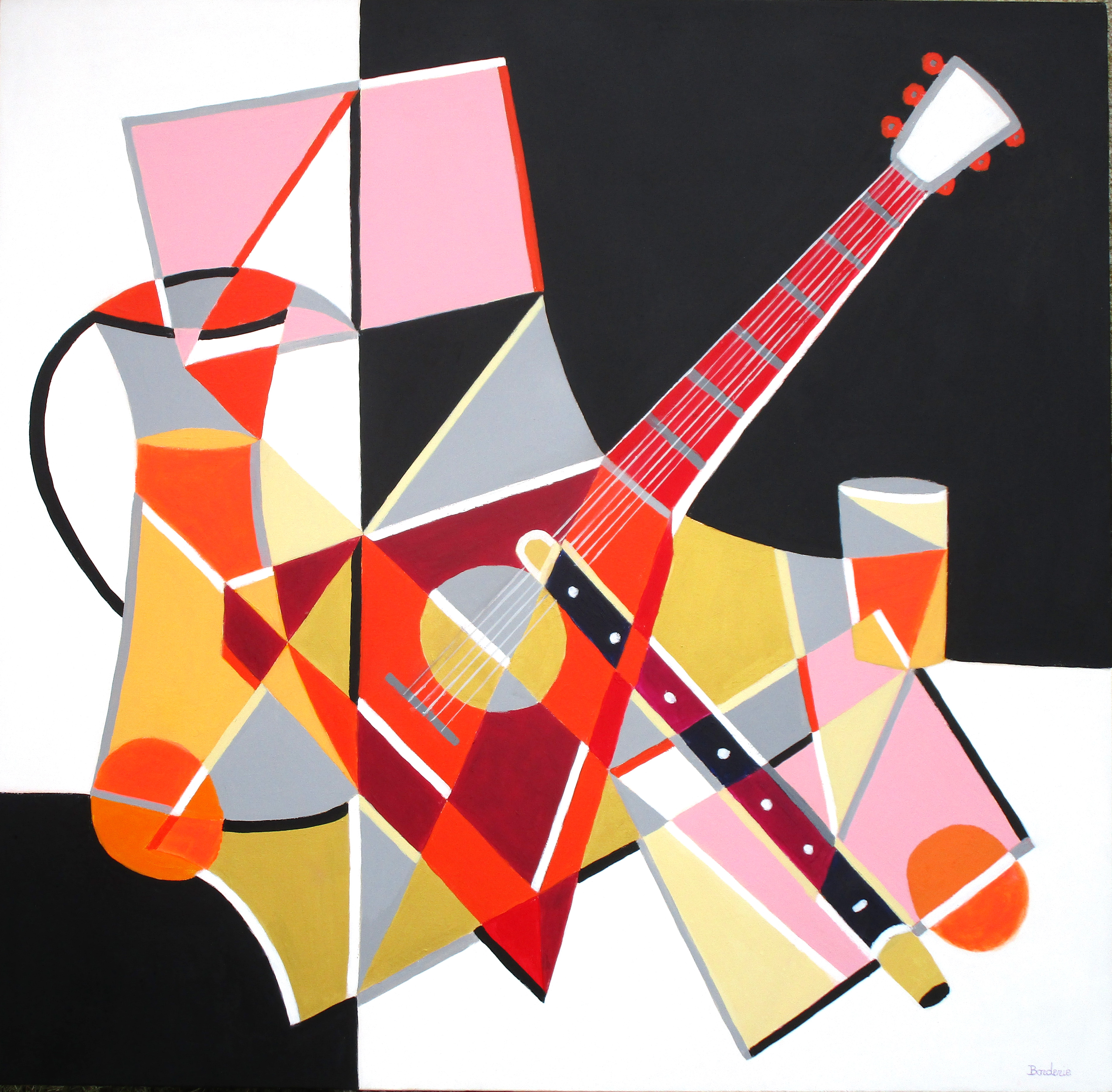 Mandoline, flûte et jus d'orange.