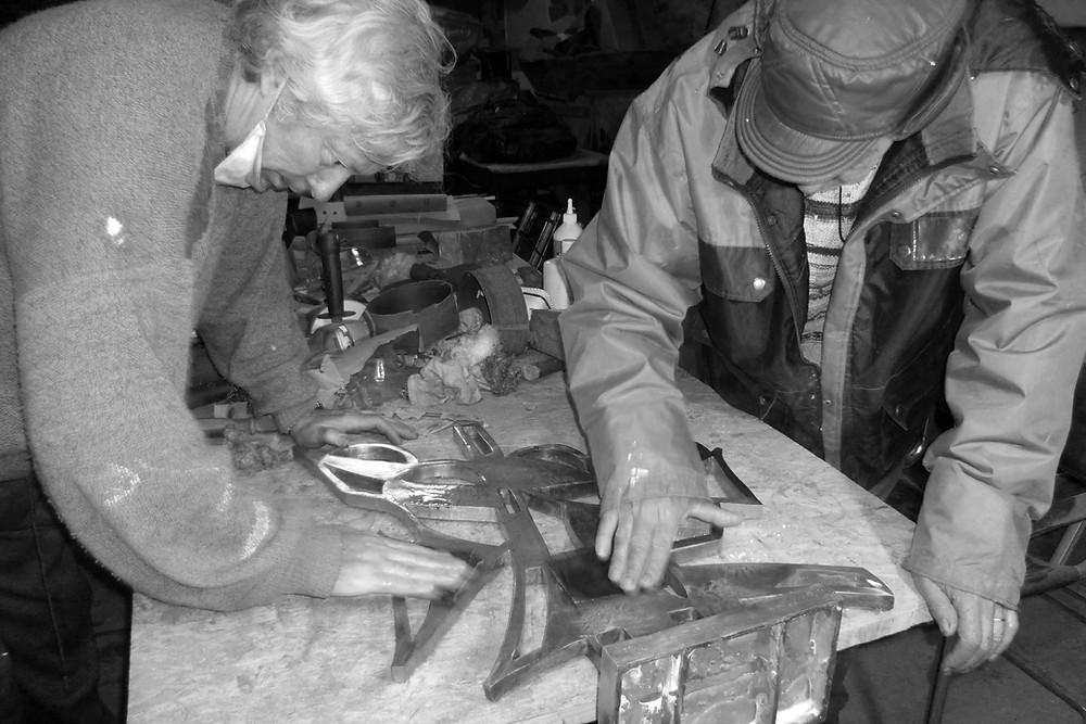 Préparation d'une sculpture bronze