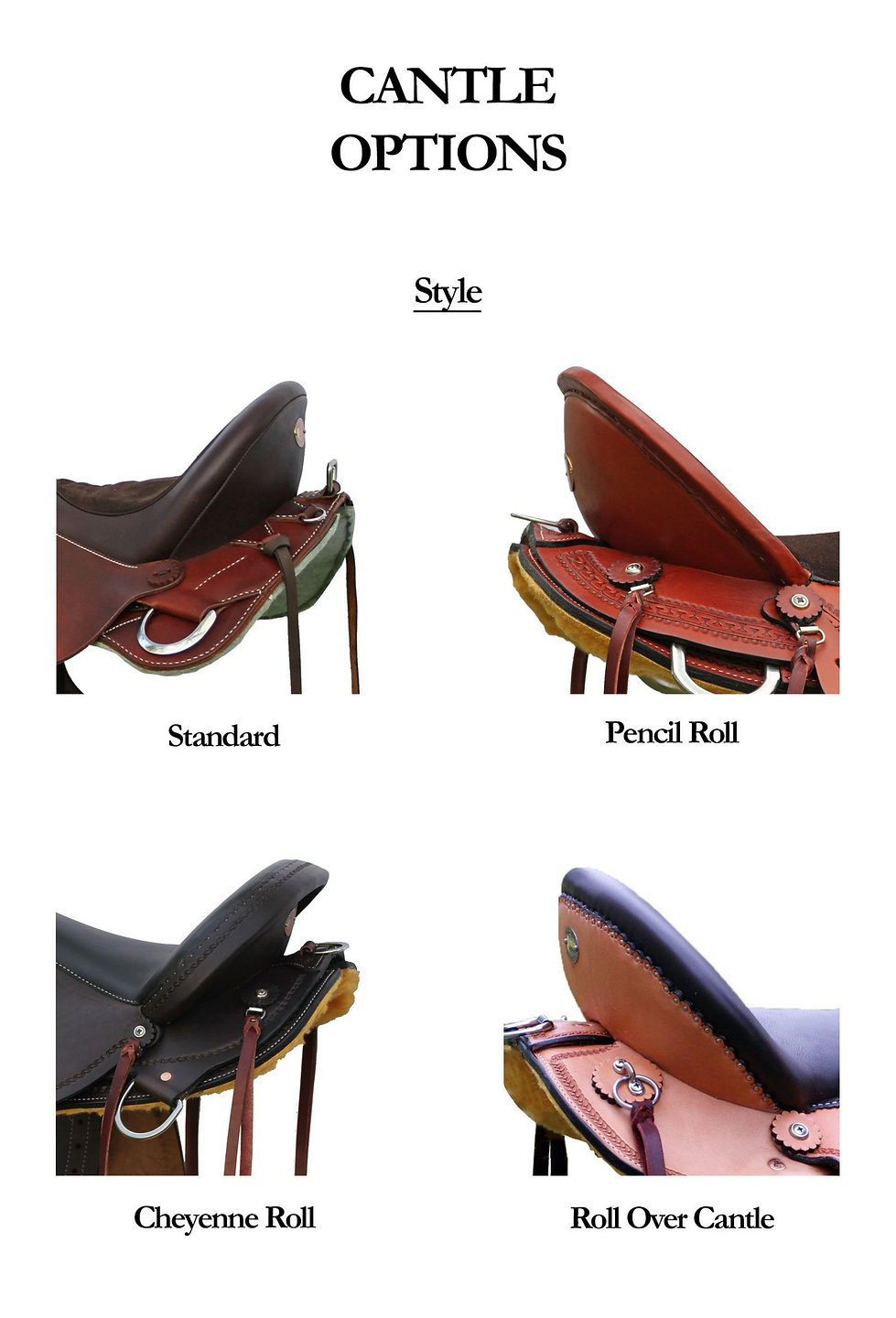 Cantle styles available