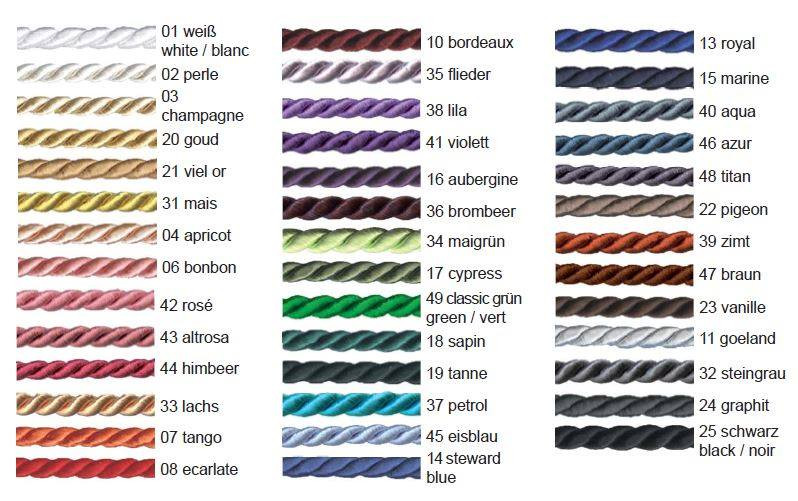 Piping Colours - you can have up to 3 rows