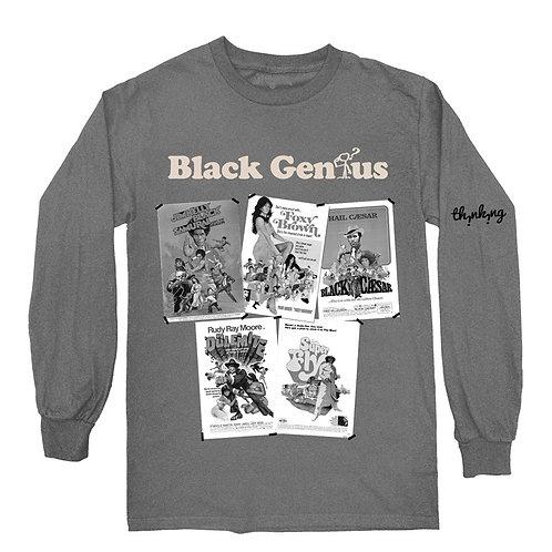 """Black Genius"" Blaxploitation Long sleeve T shirt"