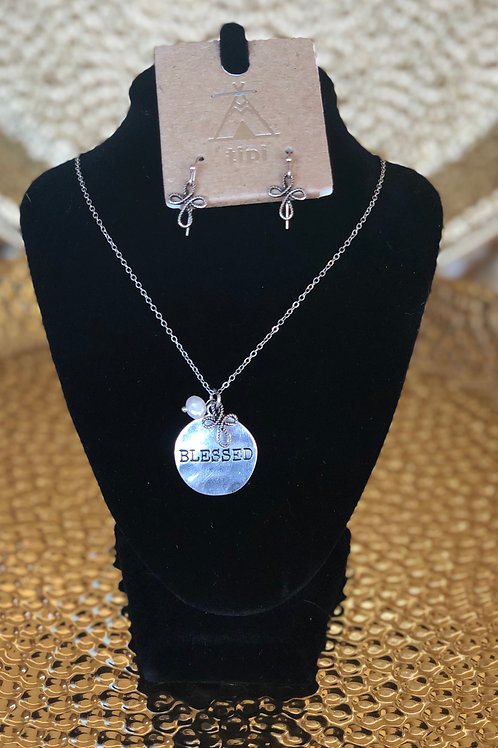 """Blessed"" necklace and earring set. Silver."