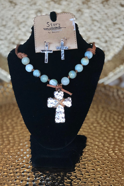Amazonite cross necklace and earring set.