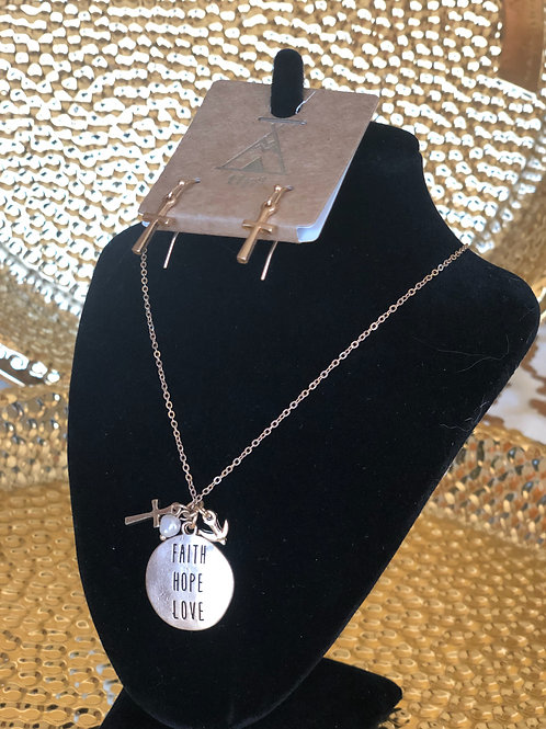 """""""Faith Hope Love"""" necklace and earrings set. Color: gold"""
