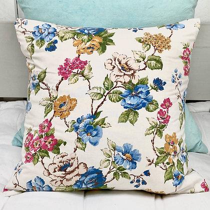 Vintage Trailing Blue Floral Cushion Cover